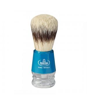 Помазок Omega, щетина кабана, пластик (голубой)