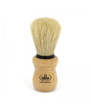 Помазок Omega щетина кабана с подставкой, деревянная ручка