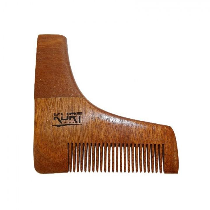Гребень KURT угловой с лекалом для бороды, деревянный