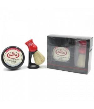 Набор для бритья OMEGA, крем-мыло и помазок ворс кабана (красная ручка)