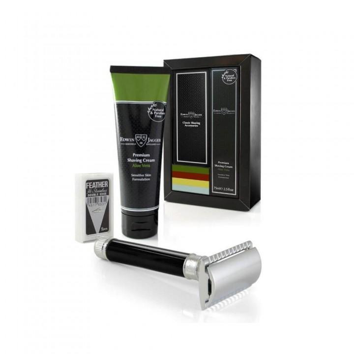 Подарочный набор Edwin Jagger с черным станком и кремом для бритья алоэ вера