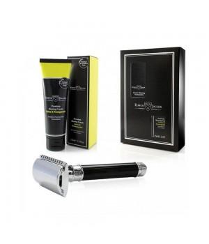 Подарочный набор Edwin Jagger с черным станком и кремом для бритья лайм и гранат