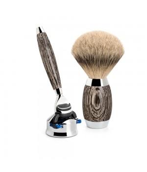 Бритвенный набор MUEHLE EDITION N3 (3 предмета), барсучий ворс высшей категории Silvertip, бритва Fusion, мореный дуб, стерлинговое серебро