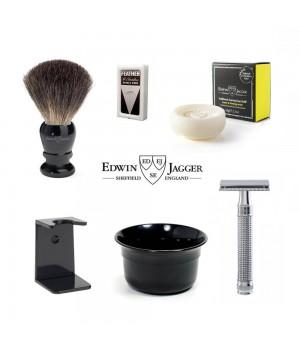 Набор для бритья Edwin Jagger Черная смола и хром