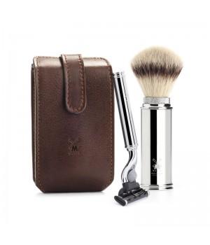 Дорожный бритвенный набор MUEHLE, чехол из натуральной коричневой кожи, дорожный помазок, дорожная бритва Mach3