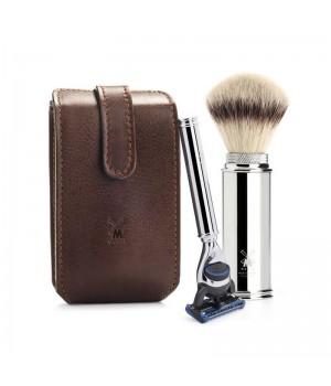 Дорожный бритвенный набор MUEHLE, чехол из натуральной коричневой кожи, дорожный помазок, дорожная бритва Fusion
